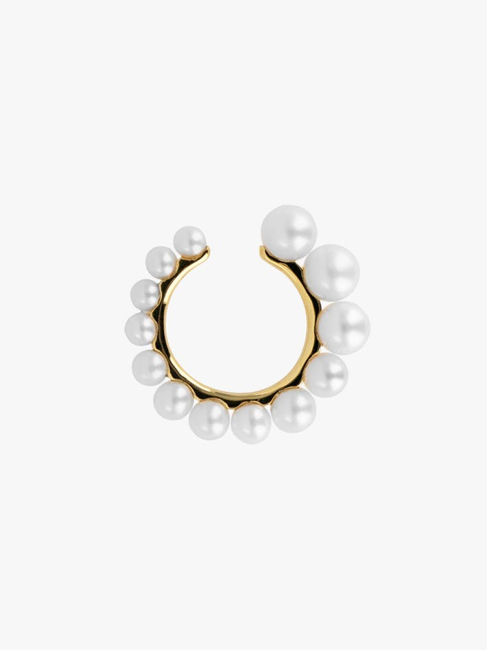 Pearl and gold ear cuff photo 1