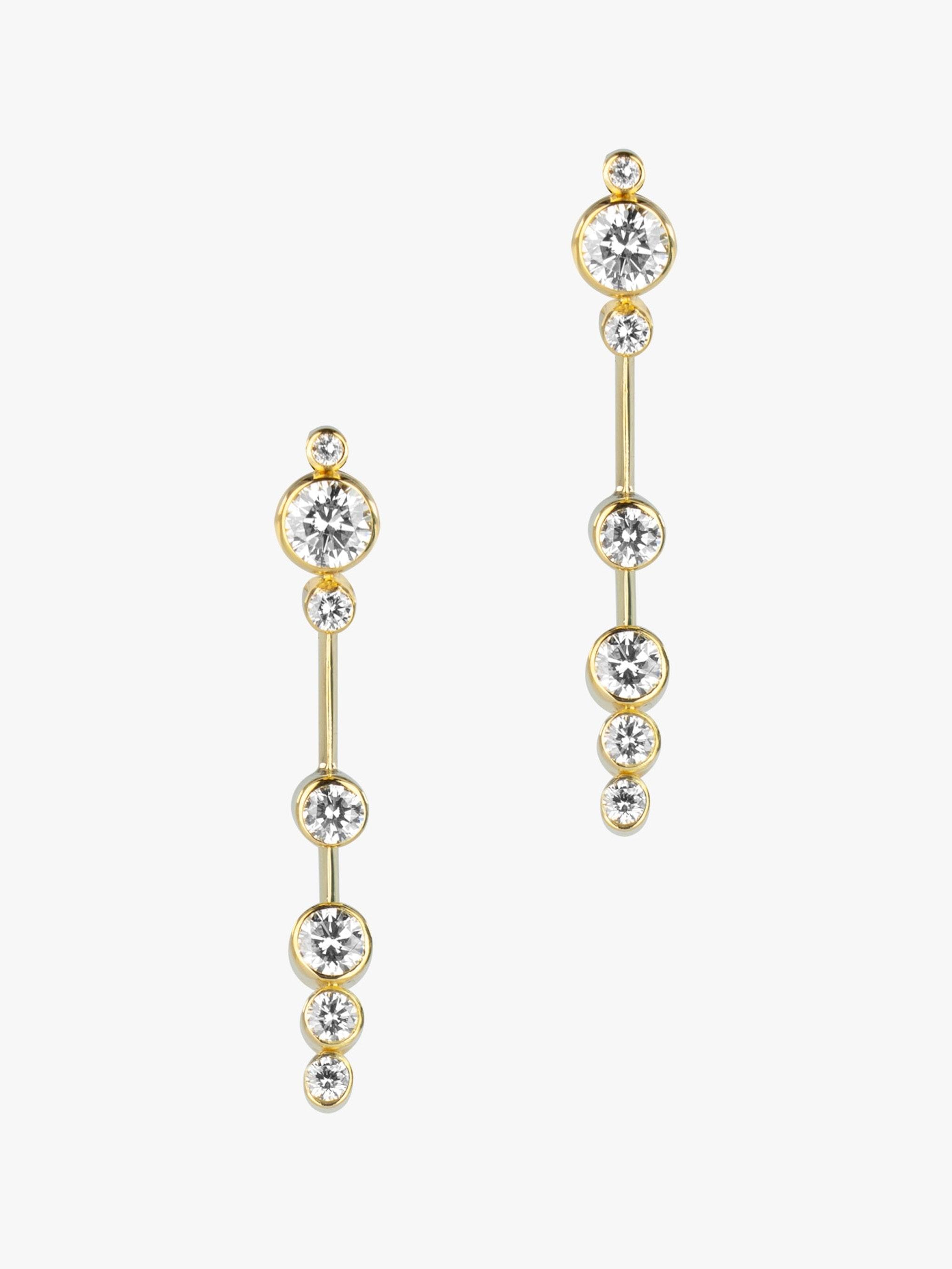 Floating diamond edge knife drop earrings photo 1