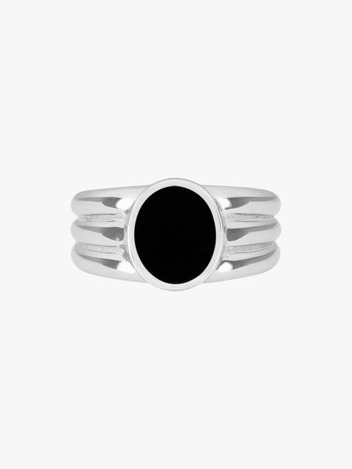 Stacked onyx inlay signet ring packshot