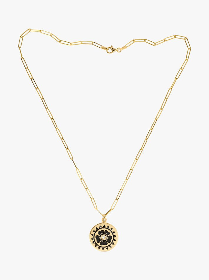 Enamel flower coin necklace photo 3
