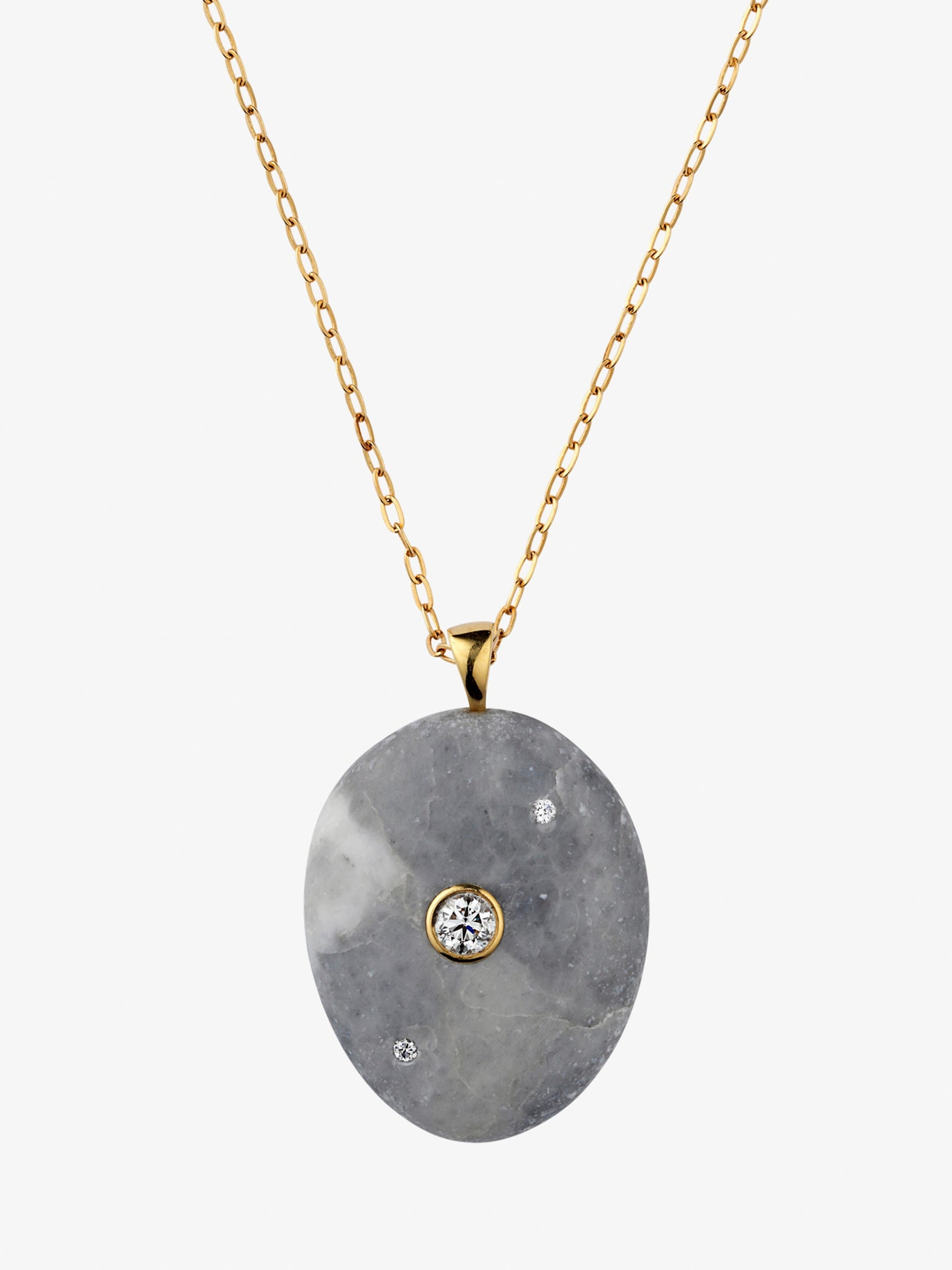 Billow gold, stone and diamond necklace photo 3