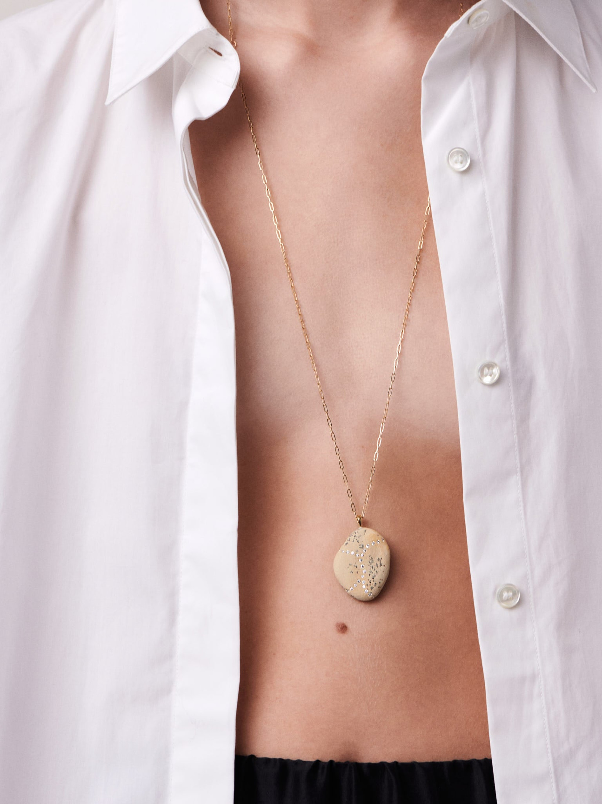 Surge gold, stone and diamond necklace