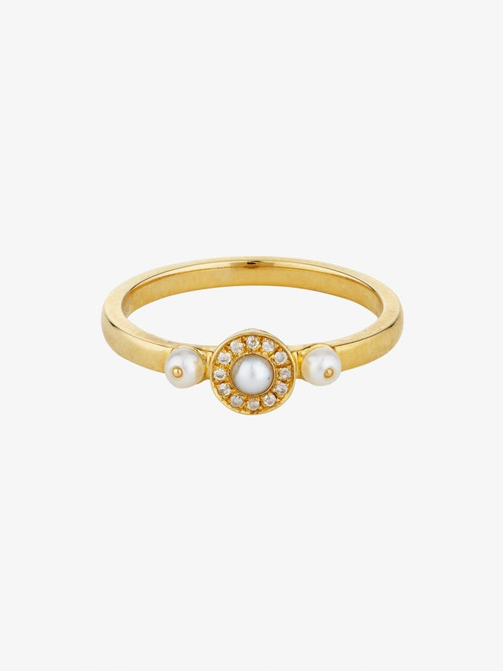 Mignonne diamond and pearl ring photo 3