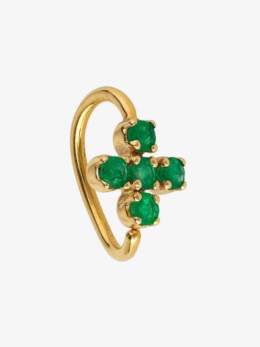 Plus hoop gold with emeralds photo