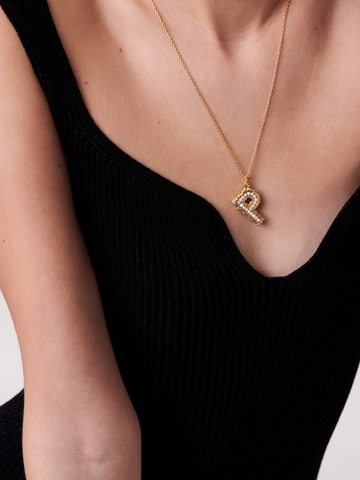 Mini pearl initial necklace