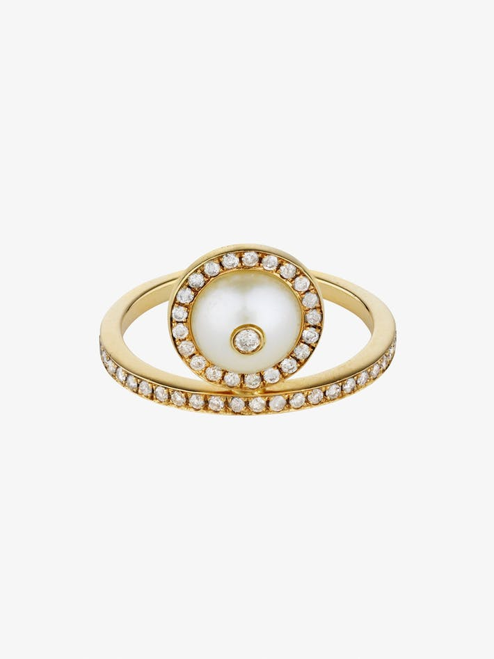 Pearl and diamond solitaire ring photo 3
