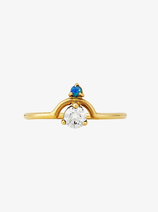 Small nestled opal and diamond ring photo