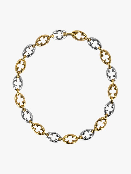 Dior gold and gunmetal links chain necklace packshot