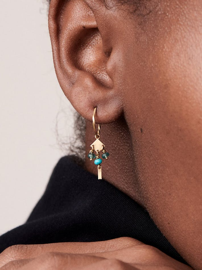 Persian mini hoops with turquoise