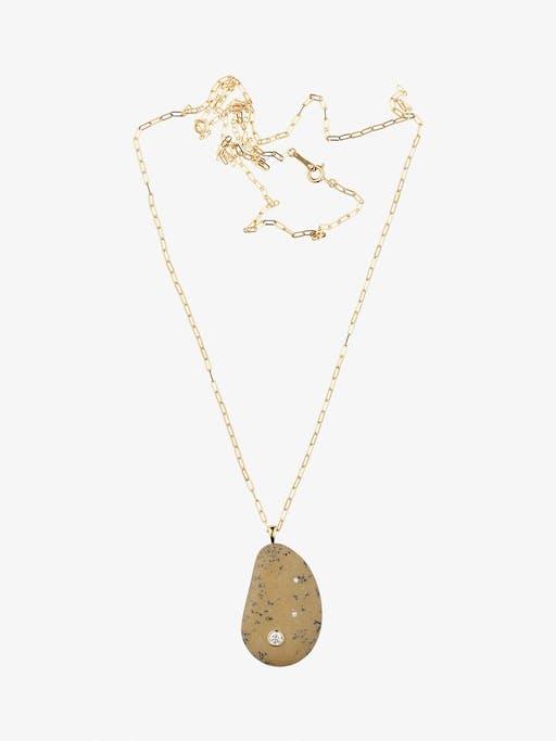 Fierce gold, stone and diamond necklace photo