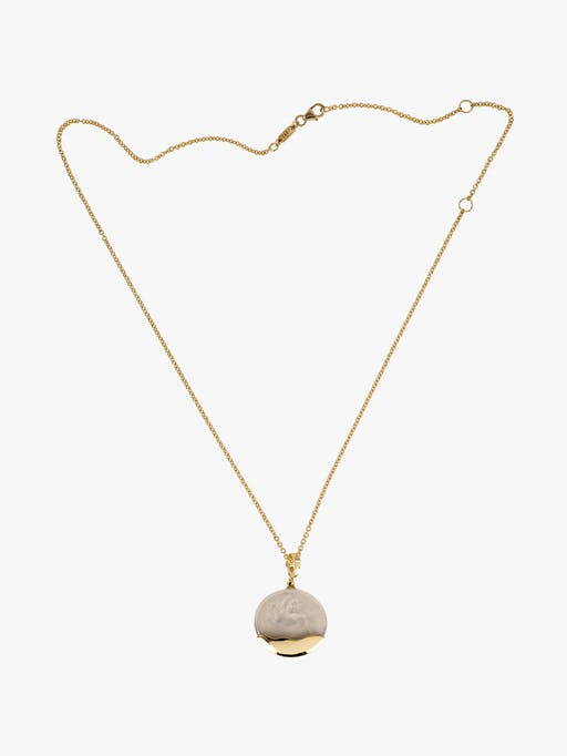 Pegasus white glass and gold dipped coin necklace photo
