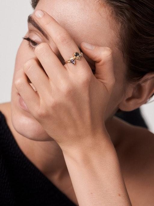 Sapphire and diamond seafire ring