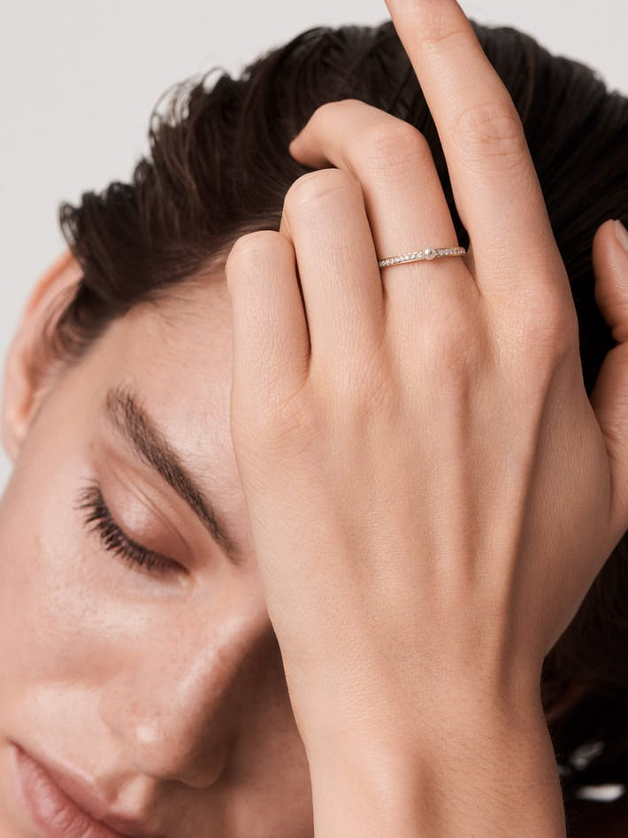 Perle rare pavé ring