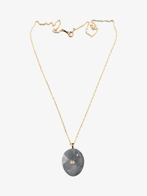 Billow gold, stone and diamond necklace photo