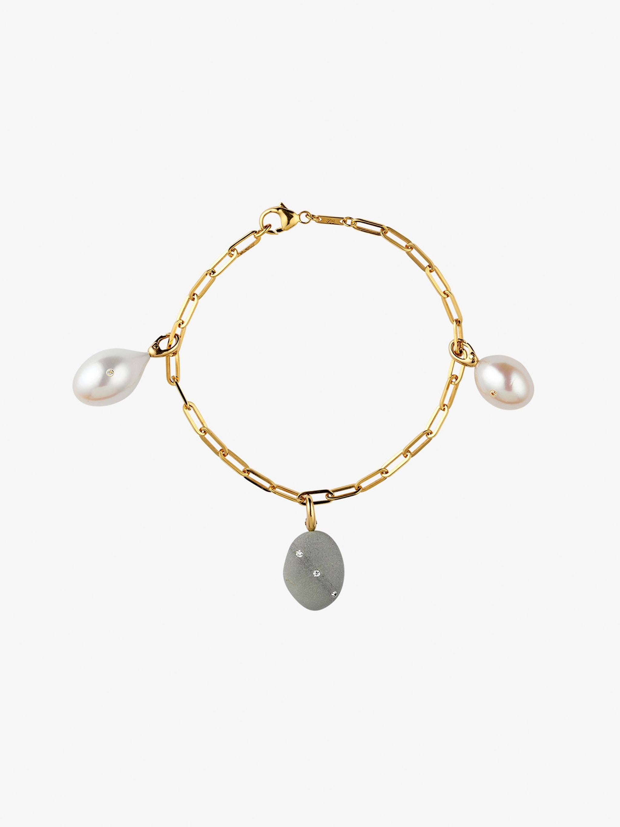 Tranquility gold bracelet with pearls, diamonds and rubies photo 1