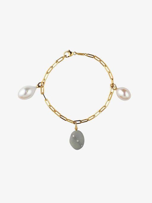 Tranquility gold bracelet with pearls, diamonds and rubies photo