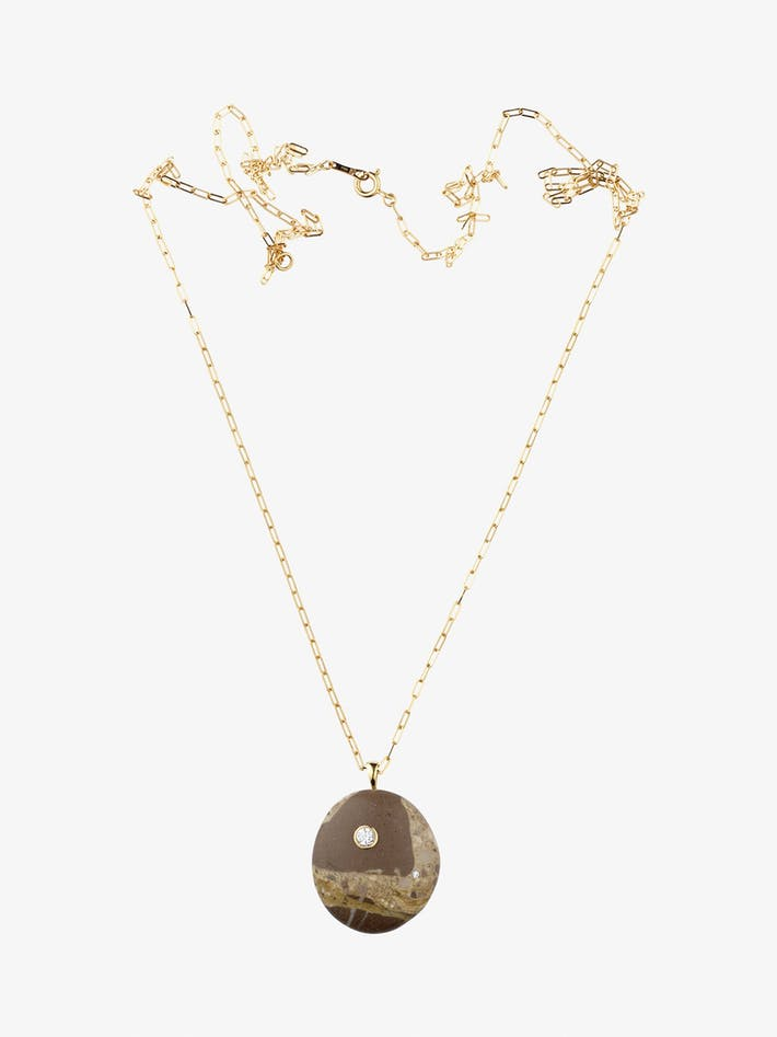 Mottle gold, stone and diamond necklace photo 1