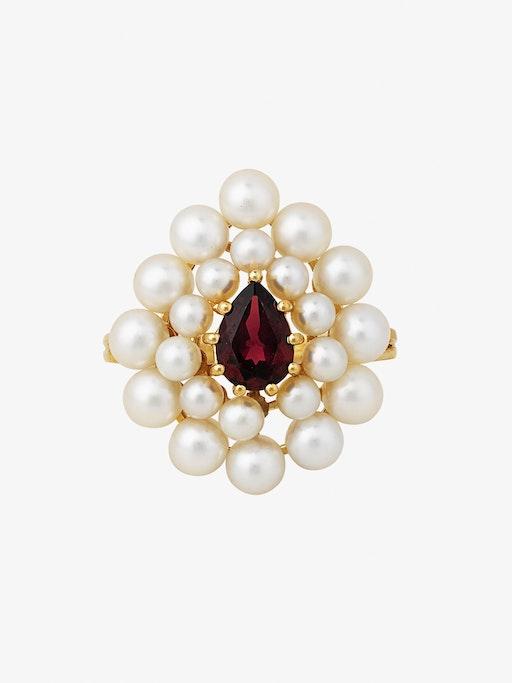 Cotillon pearl and garnet ring photo