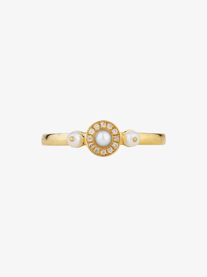 Mignonne diamond and pearl ring photo 1