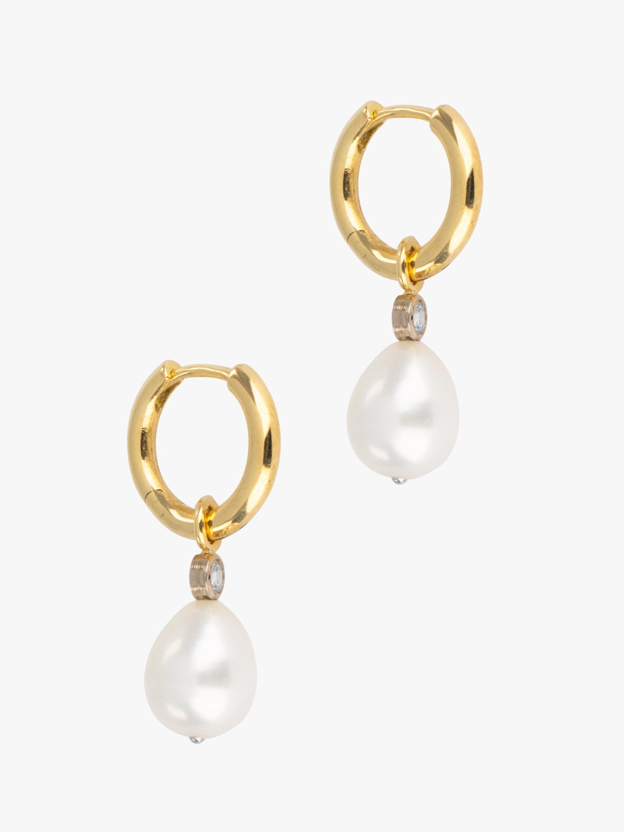 Diamond and pearl detachable hoops photo 3