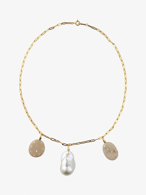 Flair, spirit and pearl gold and stone necklace photo