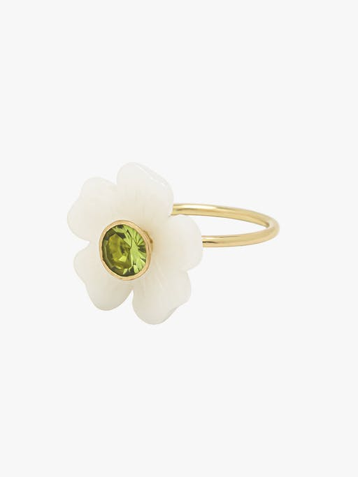 Opal and peridot small flower ring photo