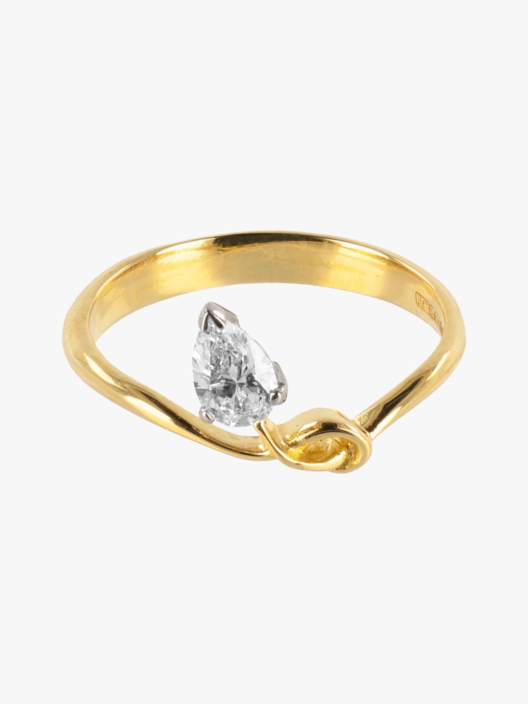 Sculptural pear diamond ring photo 3