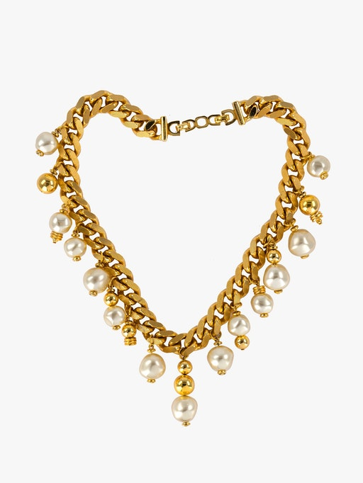 Dior chunky chain mixed pearl necklace photo