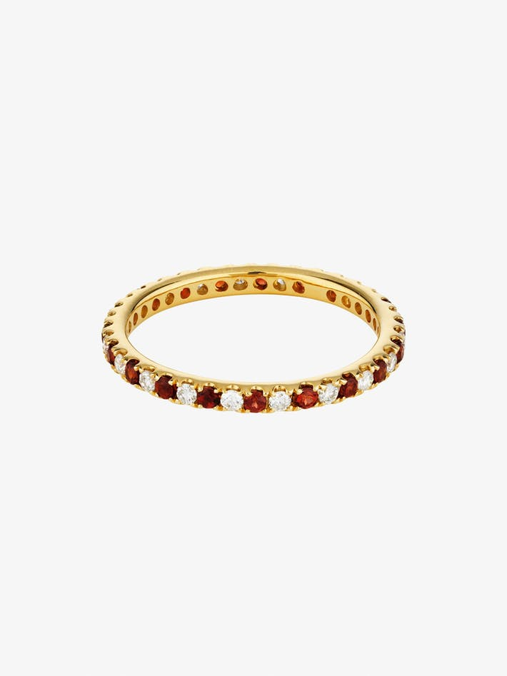 Diamond and garnet eternity ring photo 3