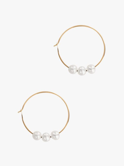 Large hoops with triple floating pearls photo