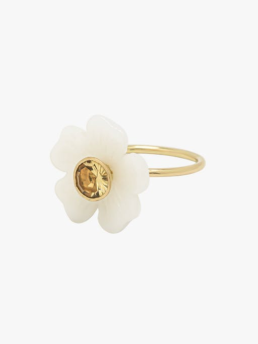 Opal and citrine small flower ring photo