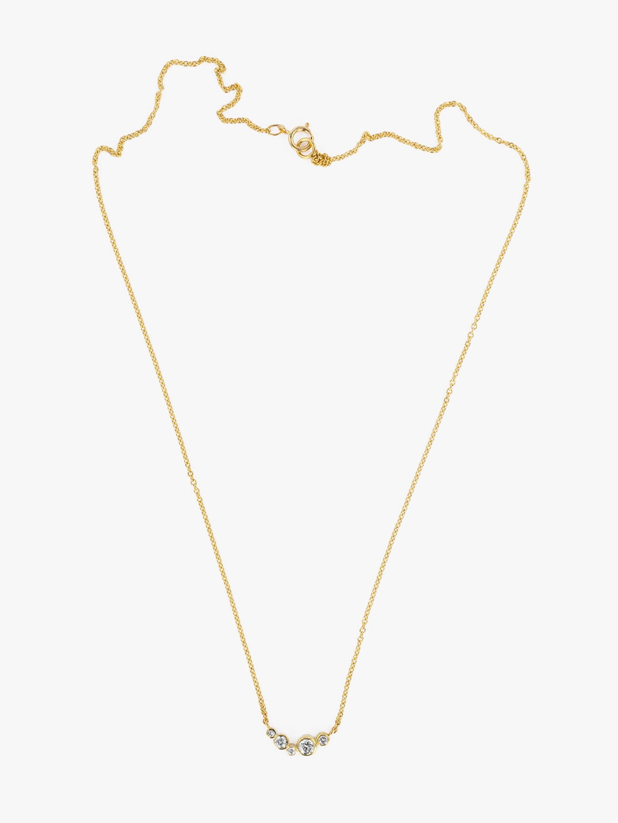 Small wave diamond necklace photo 1