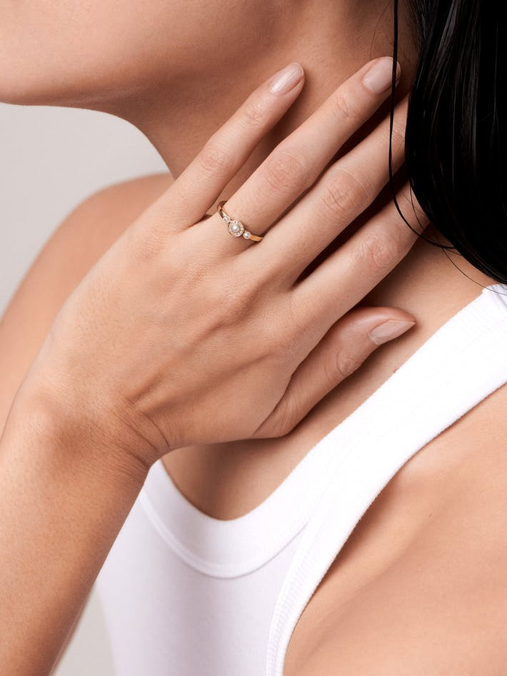 Mignonne diamond and pearl ring