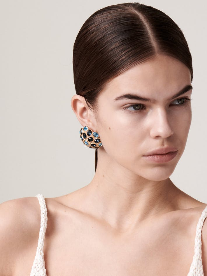 Dior blue crystal statement earrings