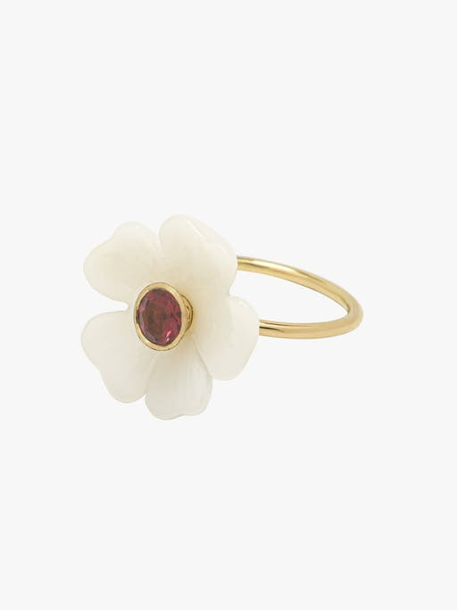 Opal and pink tourmaline small flower ring photo