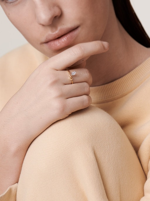Sculptural pear diamond ring model photo
