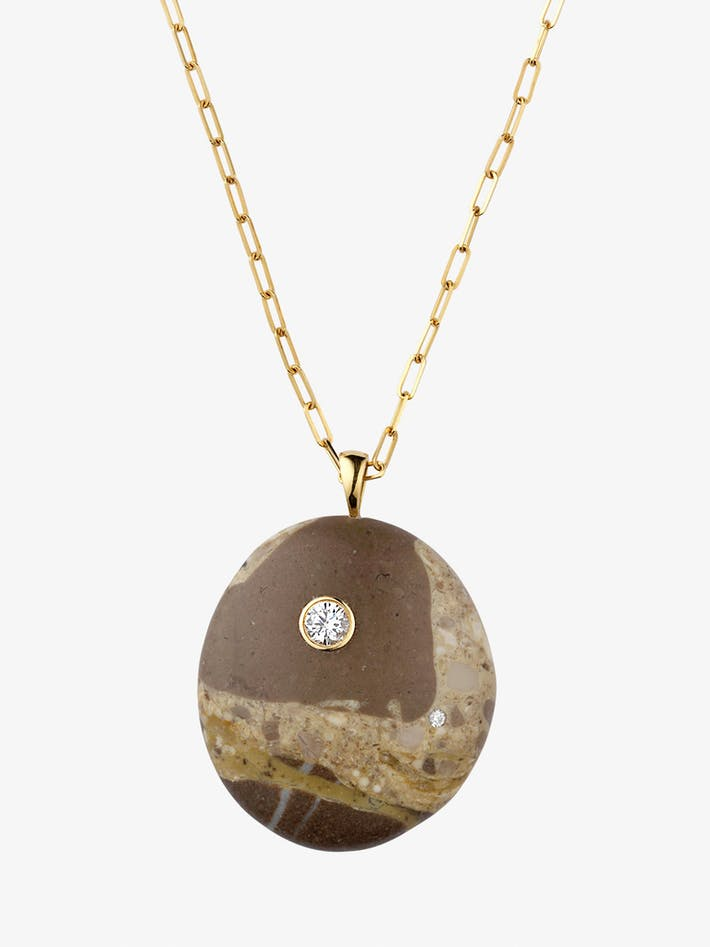 Mottle gold, stone and diamond necklace photo 3