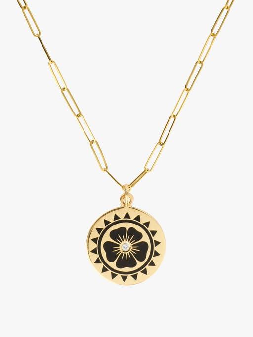 Enamel flower coin necklace photo