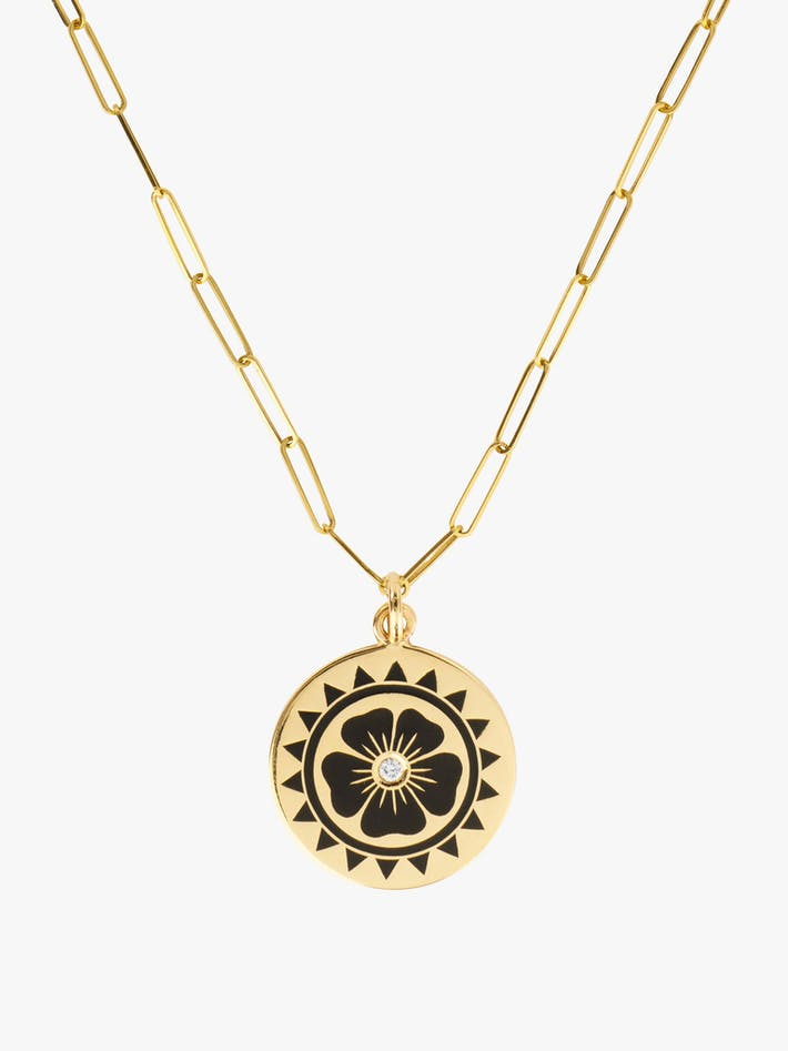 Enamel flower coin necklace photo 1