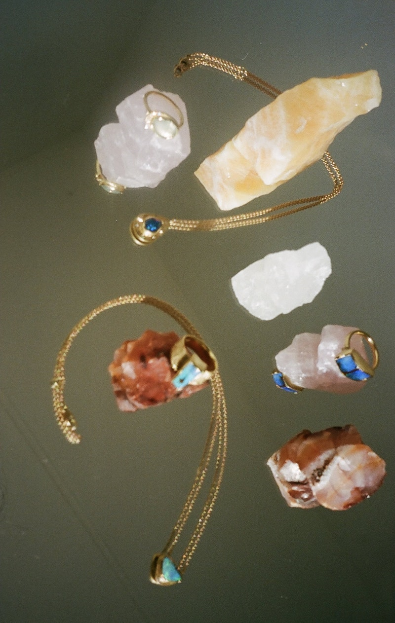 Brooke Gregson colourful stones jewellery surrounded by crystals